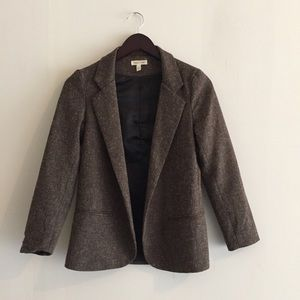 Silence + Noise tweed brown open front blazer XS